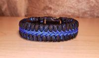 Thin Blue Line Metallic Stitched Paracord Survival Bracelet