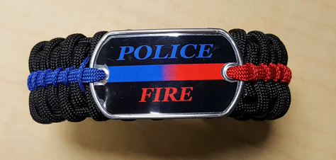 Deluxe Thin Blue & Red Line Paracord Survival Bracelet