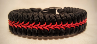 Thin Red Line Stitched Paracord Survival Bracelet